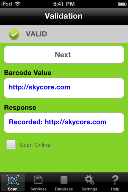 URL in valid scan