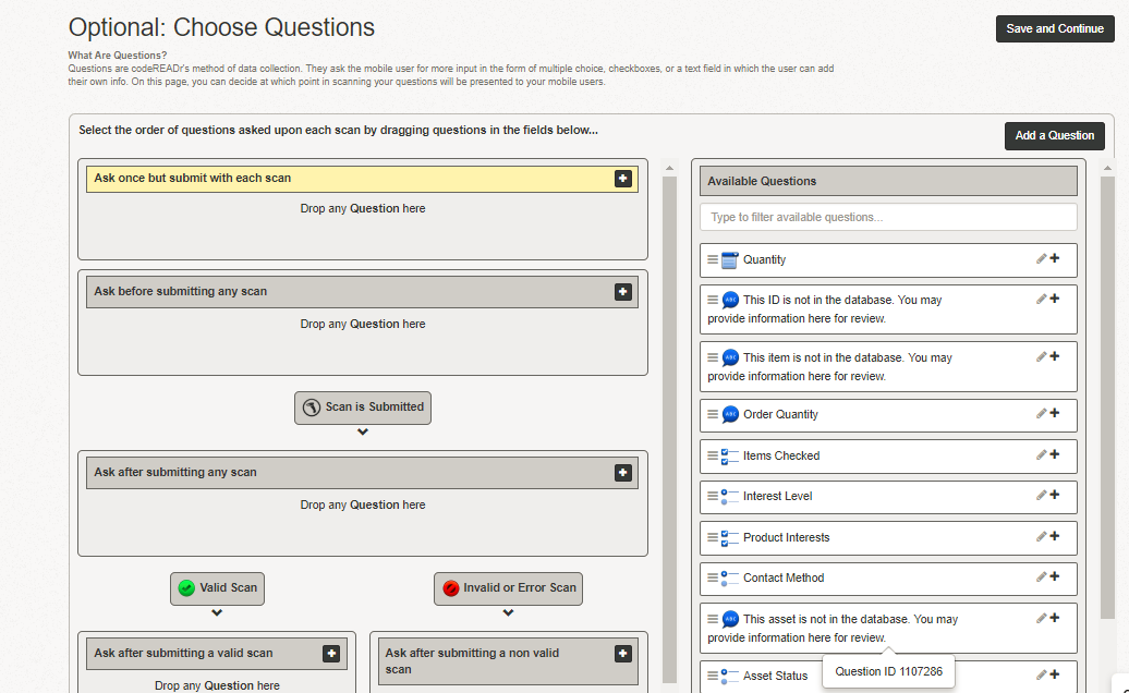 Add a variety of different questions to your service with unique responses for valid or invalid scans