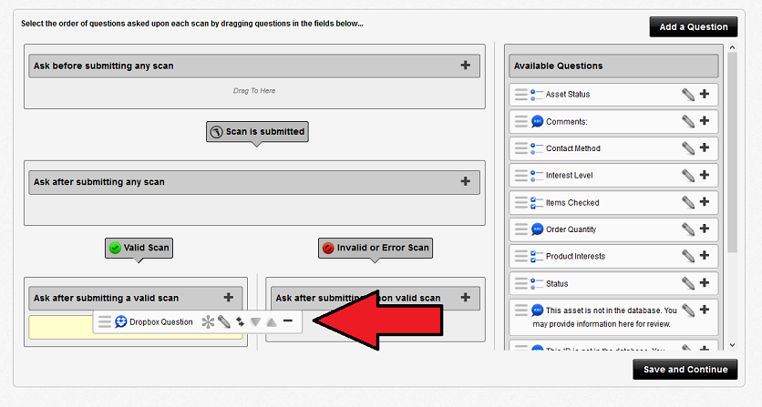 Add questions to scan flow
