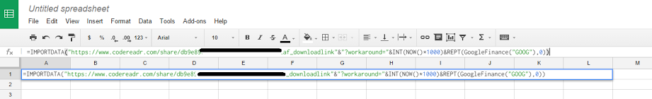 Insert formula into spreadsheet