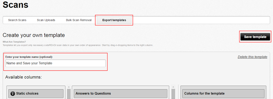 name export templates