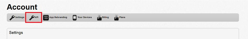 Select the API icon