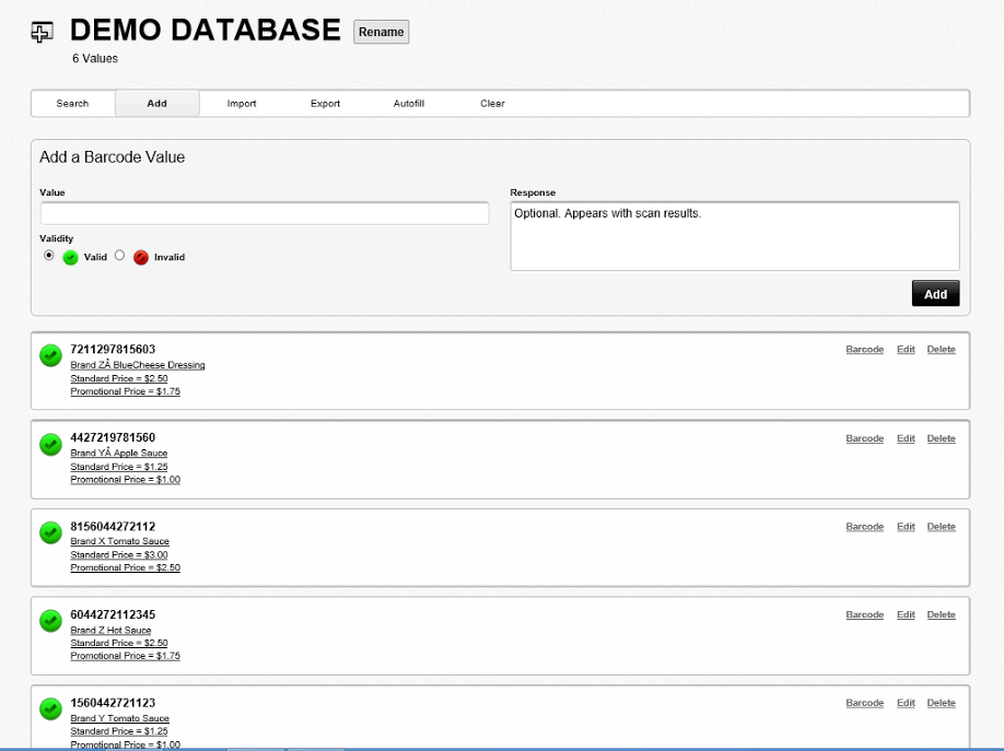 View database barcode values