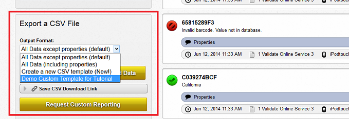Select the output format for csv export