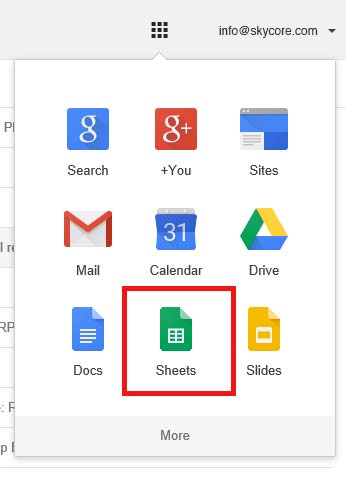 Select Google Sheets