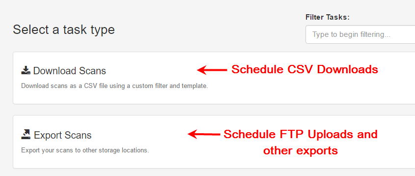 Select task type