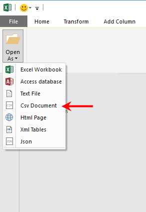Select CSV Document