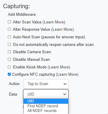smartphone nfc data capture data