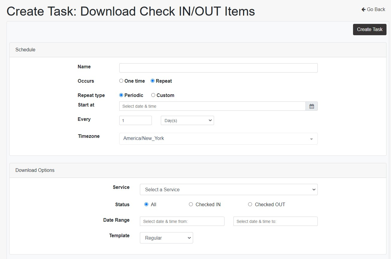 Check In/Out Download Items task